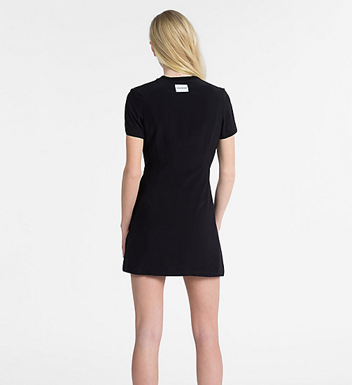 CALVIN KLEIN JEANS Crepe Short-Sleeve Dress - CK BLACK - CALVIN KLEIN JEANS DRESSES - detail image 1