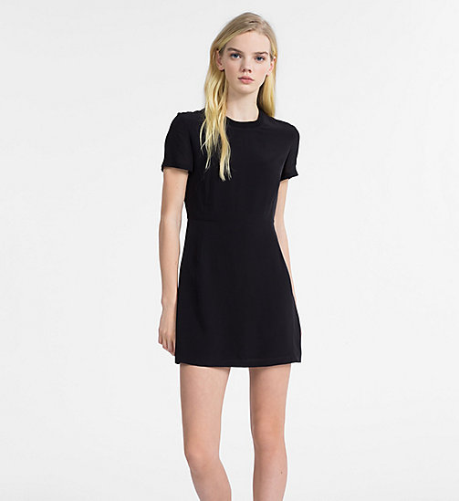 CALVIN KLEIN JEANS Crepe Short-Sleeve Dress - CK BLACK - CALVIN KLEIN JEANS DRESSES - main image