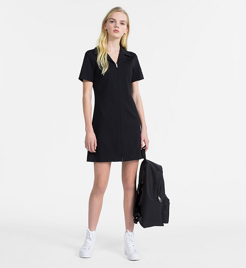CALVIN KLEIN JEANS Jersey Zip-Up Dress - TOMATO - CALVIN KLEIN JEANS WOMEN - detail image 3