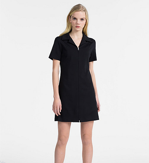CALVIN KLEIN JEANS Jersey Zip-Up Dress - CK BLACK - CALVIN KLEIN JEANS DRESSES - main image