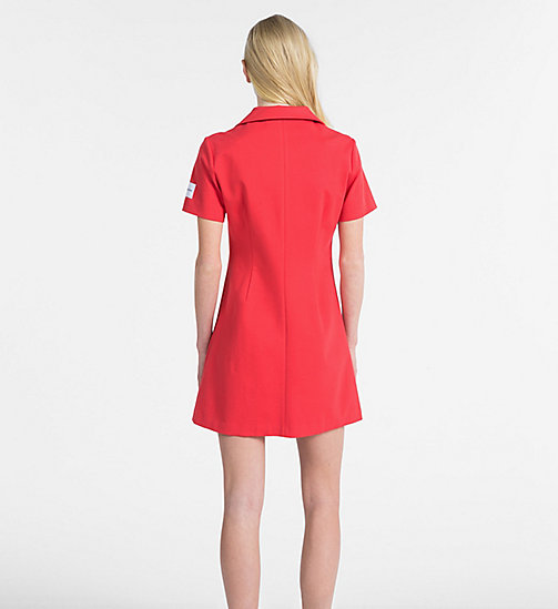 CALVIN KLEIN JEANS Jersey Zip-Up Dress - TOMATO - CALVIN KLEIN JEANS DRESSES - detail image 1
