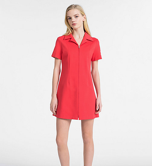 CALVIN KLEIN JEANS Jersey Zip-Up Dress - TOMATO - CALVIN KLEIN JEANS DRESSES - main image