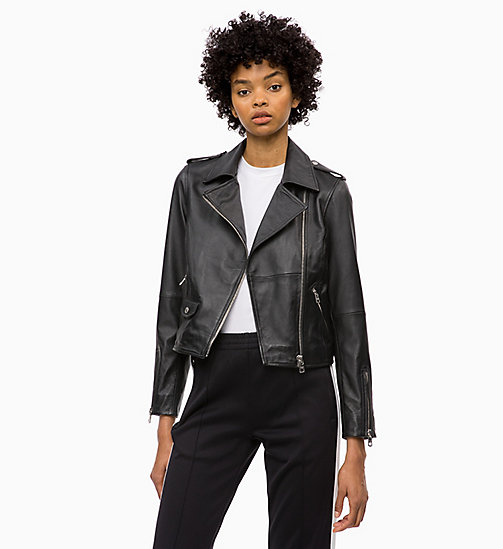 CALVIN KLEIN JEANS Leather Biker Jacket - CK BLACK -  FALL DREAMS - main image