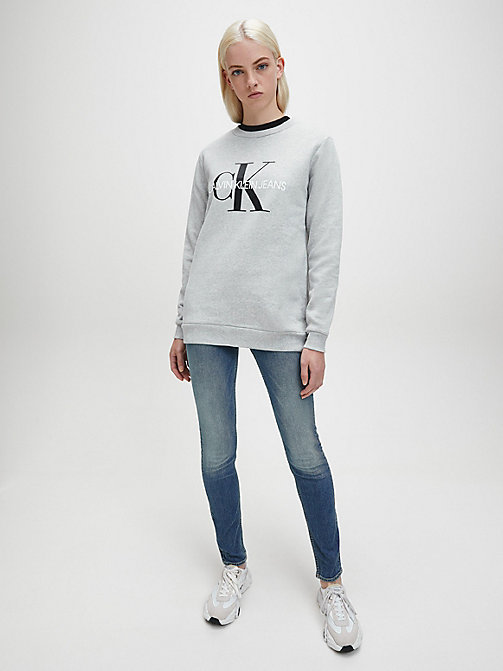 CALVIN KLEIN JEANS Logo Sweatshirt - LIGHT GREY HEATHER - CALVIN KLEIN JEANS SWEATSHIRTS - detail image 1