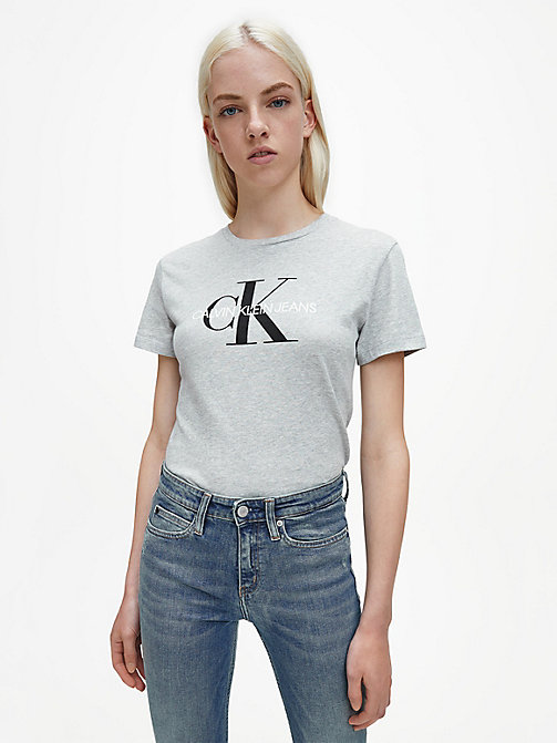 CALVIN KLEIN JEANS Logo T-shirt - LIGHT GREY HEATHER - CALVIN KLEIN JEANS T-SHIRTS - main image