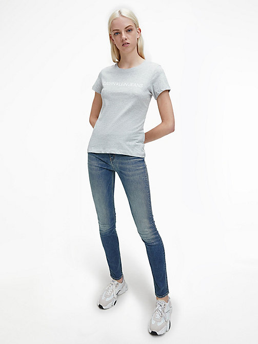 CALVIN KLEIN JEANS Slim Logo T-shirt - LIGHT GREY HEATHER - CALVIN KLEIN JEANS T-SHIRTS - detail image 1