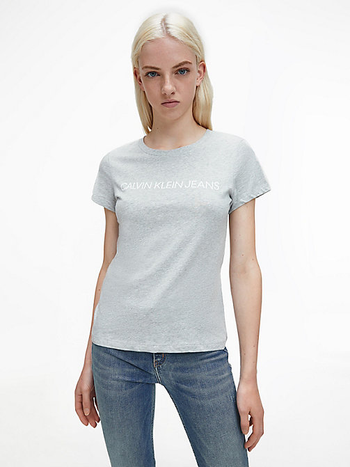 CALVIN KLEIN JEANS Slim Logo T-shirt - LIGHT GREY HEATHER - CALVIN KLEIN JEANS T-SHIRTS - main image