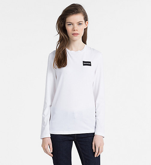 CALVIN KLEIN JEANS Long-Sleeve Logo T-shirt - BRIGHT WHITE - CALVIN KLEIN JEANS CLOTHES - main image
