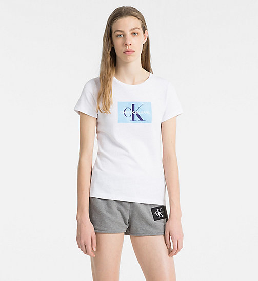 NEW CALVIN KLEIN JEANS Slim Logo T-shirt - BRIGHT WHITE / SKY BLUE - CALVIN  ...