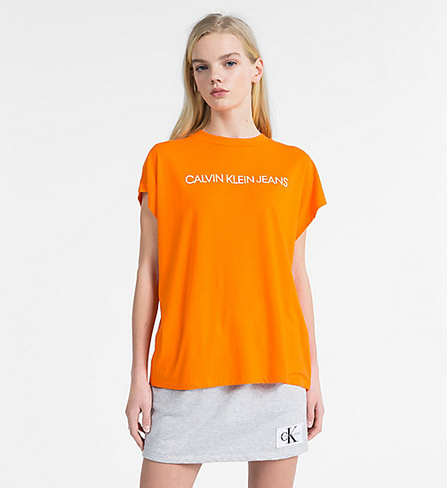 CALVIN KLEIN JEANS Oversized Logo T-shirt - ORANGE TIGER 16-1358 TCX - CALVIN KLEIN JEANS NEW IN - main image