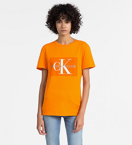 CALVIN KLEIN JEANS Logo T-shirt - ORANGE TIGER 16-1358 TCX - CALVIN KLEIN JEANS NEW IN - main image