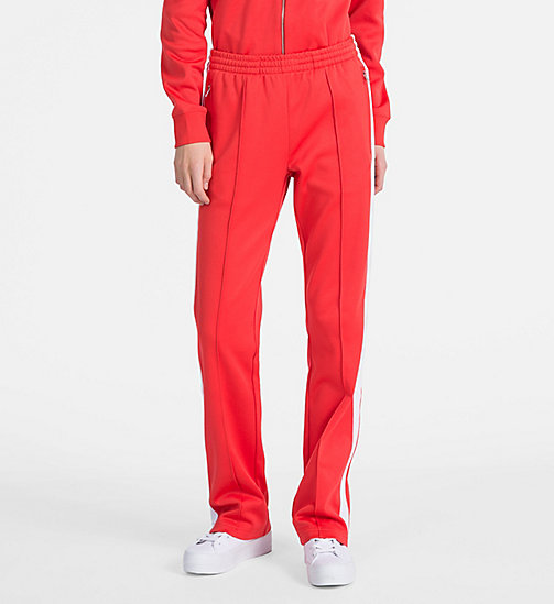 CALVIN KLEIN JEANS Straight Side-Stripe Jogging Pants - TOMATO - CALVIN KLEIN JEANS CLOTHES - main image