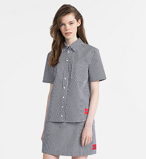 CALVIN KLEIN JEANS Gingham Short-Sleeve Shirt - CK BLACK / BRIGHT WHITE - CALVIN KLEIN JEANS WOMEN - main image