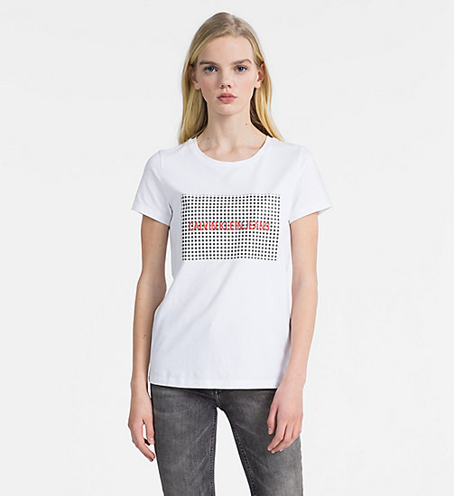 CALVIN KLEIN JEANS Gingham Logo T-shirt - BRIGHT WHITE / CK BLACK - CALVIN KLEIN JEANS NEW IN - main image