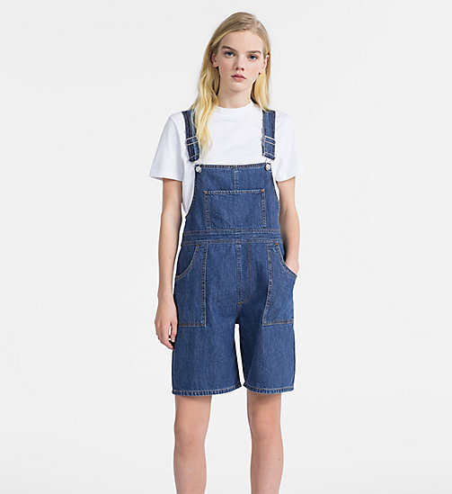 CALVIN KLEIN JEANS Denim Dungaree Shorts - MID STONE - CALVIN KLEIN JEANS NEW IN - main image
