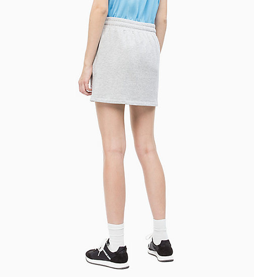 CALVIN KLEIN JEANS Cotton Terry Logo Mini Skirt - LIGHT GREY HEATHER - CALVIN KLEIN JEANS CLOTHES - detail image 1