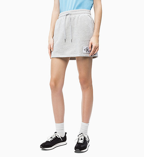 CALVIN KLEIN JEANS Cotton Terry Logo Mini Skirt - LIGHT GREY HEATHER - CALVIN KLEIN JEANS NEW IN - main image
