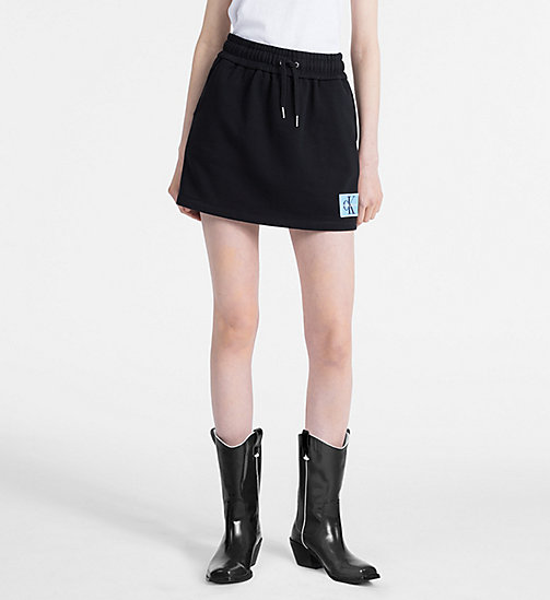 CALVIN KLEIN JEANS Cotton Terry Logo Mini Skirt - CK BLACK - CALVIN KLEIN JEANS NEW IN - main image