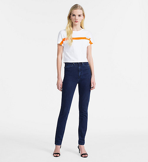 CALVIN KLEIN JEANS Slim Cropped Cap-Sleeve T-shirt - BRIGHT WHITE - CALVIN KLEIN JEANS NEW IN - detail image 1