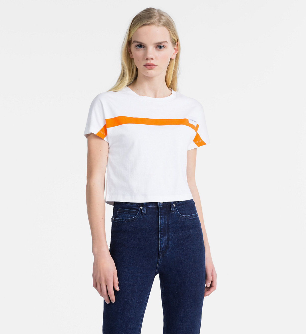 Slim Cropped Cap Sleeve T Shirt by Calvin Klein Jeans