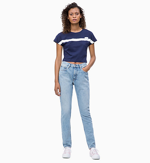 CALVIN KLEIN JEANS Slim Cropped Cap-Sleeve T-shirt - PEACOAT - CALVIN KLEIN JEANS CLOTHES - detail image 1