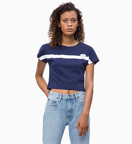 CALVIN KLEIN JEANS Slim Cropped Cap-Sleeve T-shirt - PEACOAT - CALVIN KLEIN JEANS CLOTHES - main image