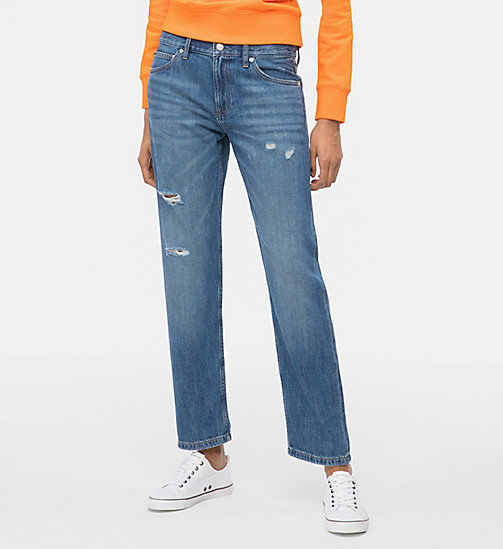 CALVIN KLEIN JEANS CKJ 061 Mid Rise Boy Jeans - DOG PATCH BLUE DSTR - CALVIN KLEIN JEANS NEW DENIM - main image