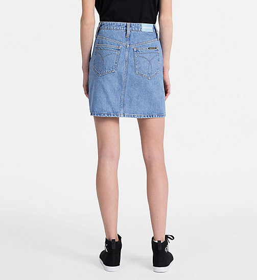 CALVIN KLEIN JEANS High Rise Side-Stripe Denim Mini Skirt - LIGHT STONE - CALVIN KLEIN JEANS CLOTHES - detail image 1