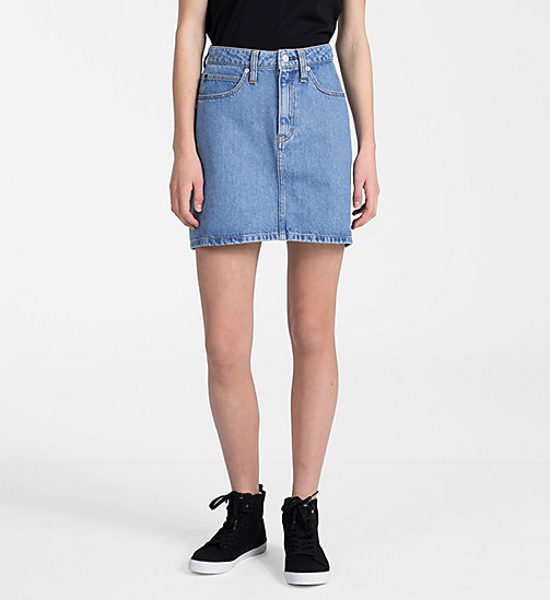 CALVIN KLEIN JEANS High Rise Side-Stripe Denim Mini Skirt - LIGHT STONE - CALVIN KLEIN JEANS SKIRTS - main image