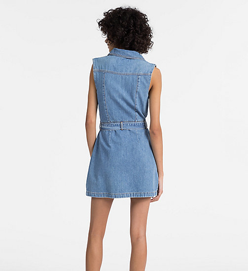 CALVIN KLEIN JEANS Denim Zip-Up Belted Dress - IRWIN BLUE - CALVIN KLEIN JEANS CLOTHES - detail image 1