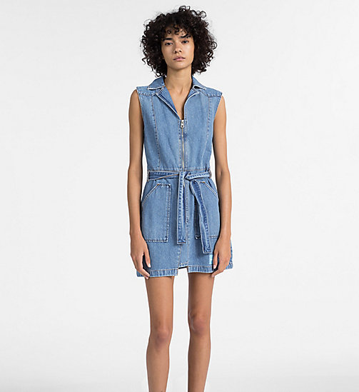 CALVIN KLEIN JEANS Denim Zip-Up Belted Dress - IRWIN BLUE - CALVIN KLEIN JEANS DRESSES - main image