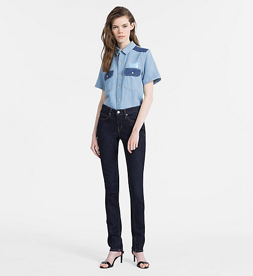 CALVIN KLEIN JEANS Two-Tone Denim Shirt - IRWIN BLUE BLOCKED - CALVIN KLEIN JEANS NEW IN - detail image 1