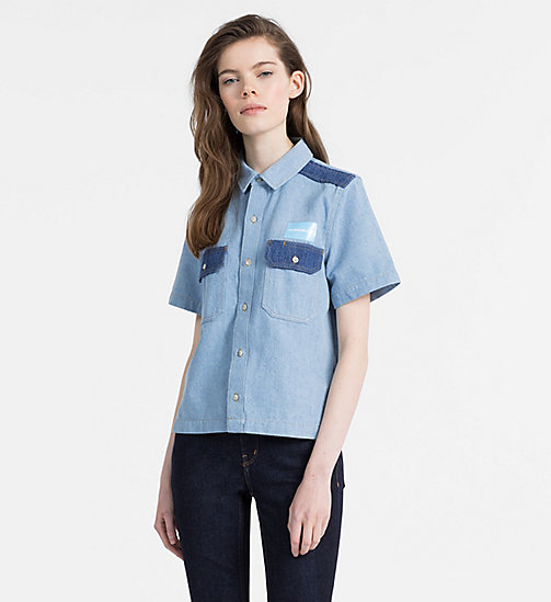 CALVIN KLEIN JEANS Two-Tone Denim Shirt - IRWIN BLUE BLOCKED - CALVIN KLEIN JEANS SHIRTS - main image