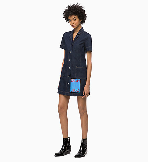 CALVIN KLEIN JEANS Denim Logo Dress - RINSE - CALVIN KLEIN JEANS NEW ICONS - main image