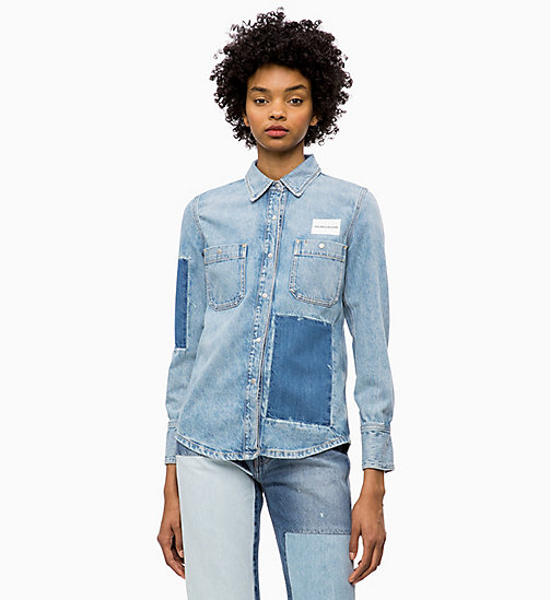 CALVIN KLEIN JEANS Patched Denim Utility Shirt - NIKKI BLUE - CALVIN KLEIN JEANS NEW ICONS - main image