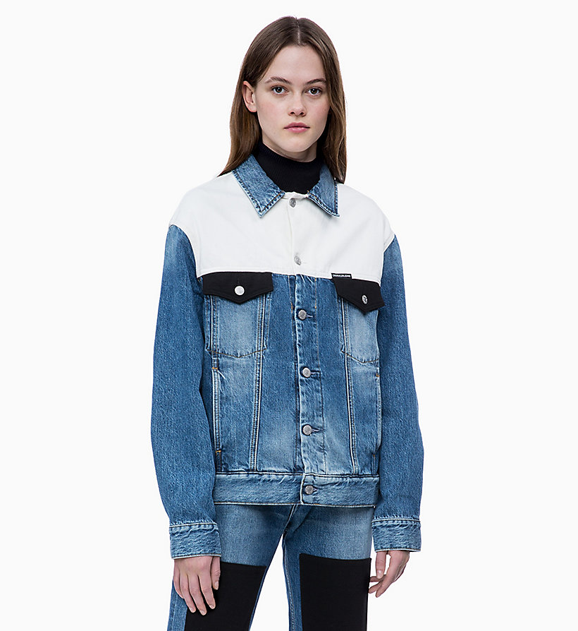 Colour Block Denim Trucker Jacket