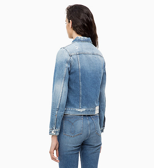 CALVIN KLEIN JEANS Distressed Denim Trucker Jacket - BALBOA BLUE DESTR - CALVIN KLEIN JEANS NEW ICONS - detail image 1