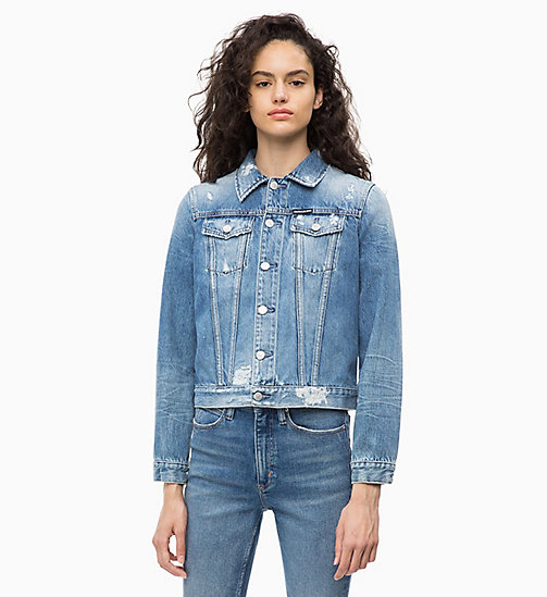 CALVIN KLEIN JEANS Distressed Denim Trucker Jacket - BALBOA BLUE DESTR - CALVIN KLEIN JEANS The New Off-Duty - main image