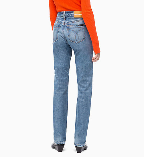 CALVIN KLEIN JEANS CKJ 030 High Rise Straight Jeans - BROOM BLUE - CALVIN KLEIN JEANS DENIM SHOP - detail image 1