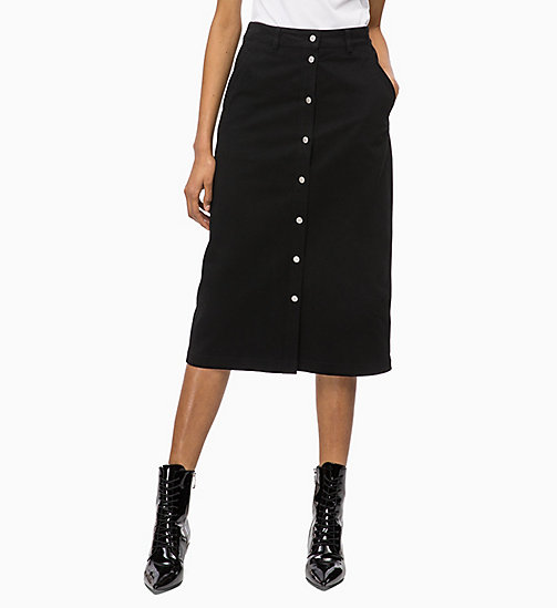 CALVIN KLEIN JEANS Button-Through Midi Skirt - CK BLACK - CALVIN KLEIN JEANS FALL DREAMS - main image