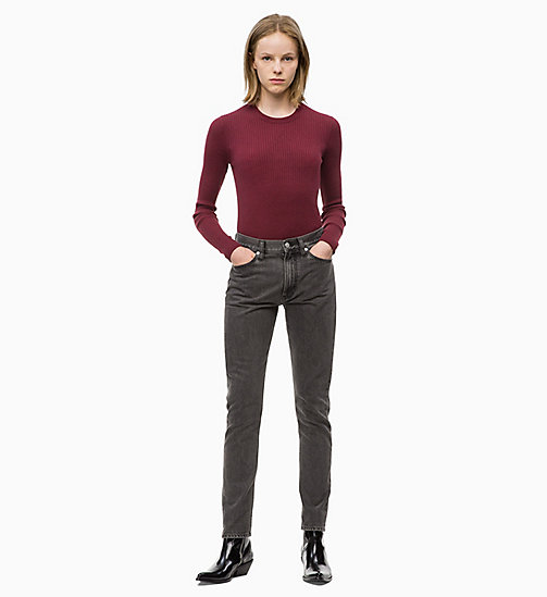 CALVIN KLEIN JEANS Wool Blend Rib-Knit Jumper - TAWNY PORT - CALVIN KLEIN JEANS CLOTHES - detail image 1