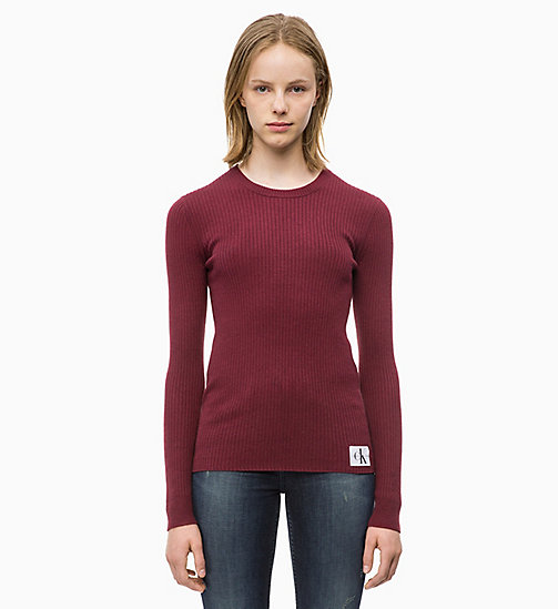 CALVIN KLEIN JEANS Wool Blend Rib-Knit Jumper - TAWNY PORT - CALVIN KLEIN JEANS CLOTHES - main image