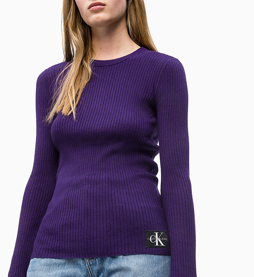 CALVIN KLEIN JEANS Wool Blend Rib-Knit Jumper - PUMPKIN RED - CALVIN KLEIN JEANS WOMEN - detail image 2