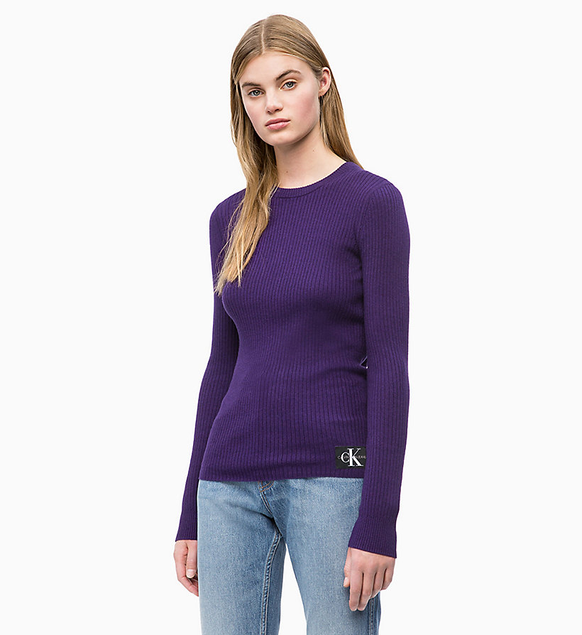 CALVIN KLEIN JEANS Wool Blend Rib-Knit Jumper - PUMPKIN RED - CALVIN KLEIN JEANS WOMEN - main image