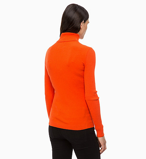 CALVIN KLEIN JEANS Wool Blend Turtleneck Jumper - PUMPKIN RED - CALVIN KLEIN JEANS FALL DREAMS - detail image 1