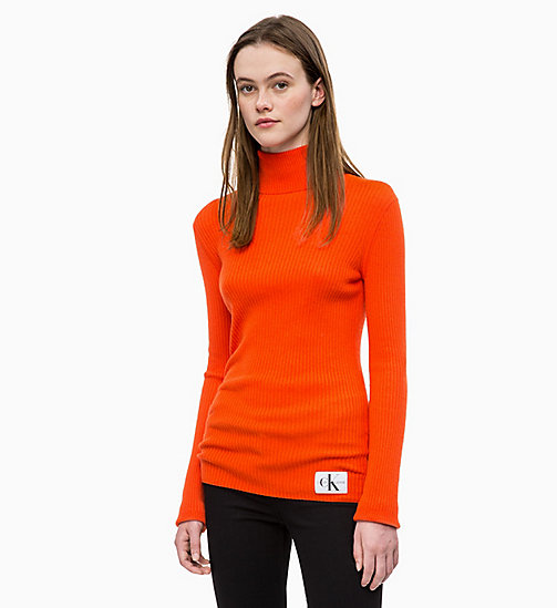 CALVIN KLEIN JEANS Wool Blend Turtleneck Jumper - PUMPKIN RED - CALVIN KLEIN JEANS FALL DREAMS - main image