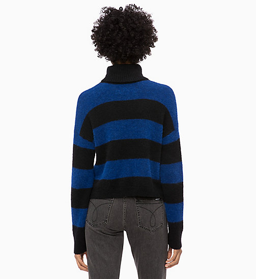 CALVIN KLEIN JEANS Wool Alpaca Stripe Jumper - CK BLACK / SURF THE WEB - CALVIN KLEIN JEANS NEW IN - detail image 1