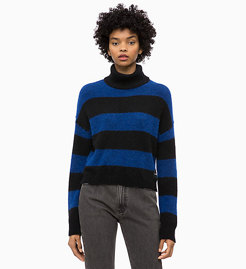 CALVIN KLEIN JEANS Wool Alpaca Stripe Jumper - CK BLACK / SURF THE WEB - CALVIN KLEIN JEANS NEW IN - main image