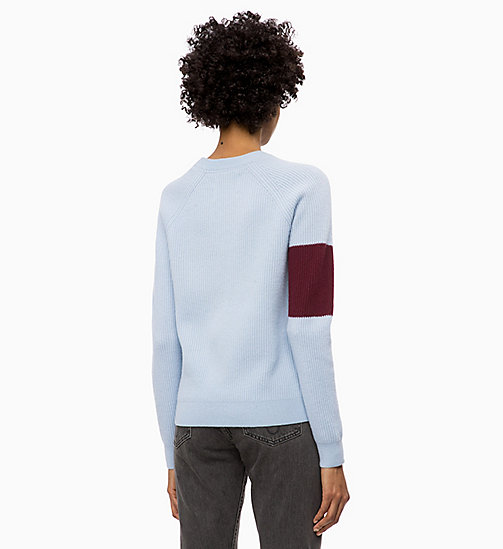 CALVIN KLEIN JEANS Wool Colour Block Jumper - CHAMBRAY BLUE / TAWNY PORT - CALVIN KLEIN JEANS NEW IN - detail image 1