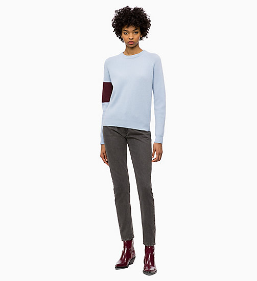 CALVIN KLEIN JEANS Wool Colour Block Jumper - CHAMBRAY BLUE / TAWNY PORT - CALVIN KLEIN JEANS WOMEN - detail image 1